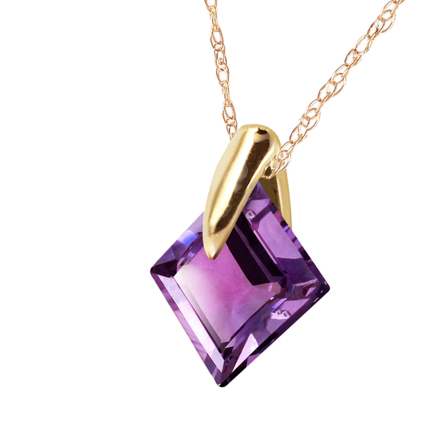 Square Cut Amethyst Pendant Necklace 1.16ct in 9ct Gold