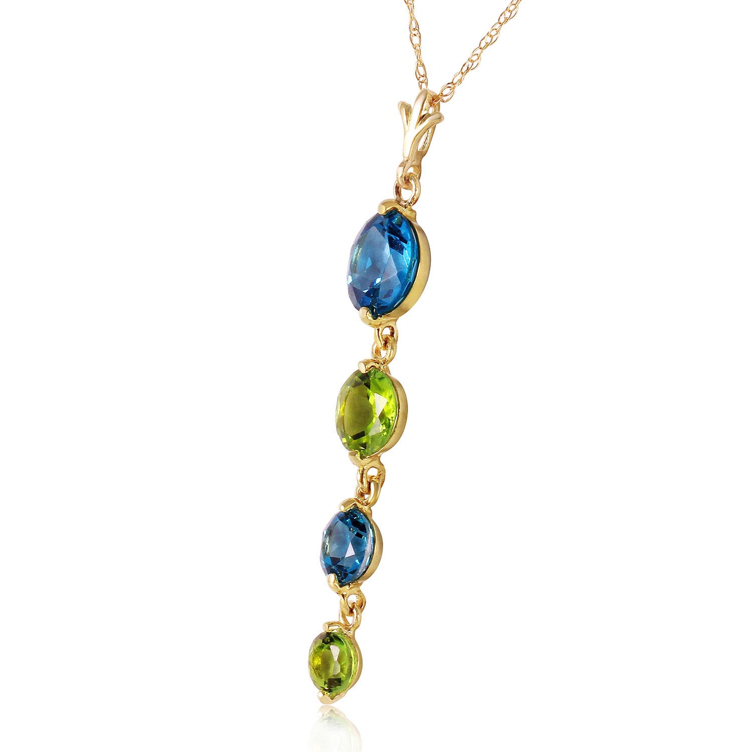 Blue Topaz and Peridot Quadruplo Pendant Necklace 3.14Kw in 14K Gold