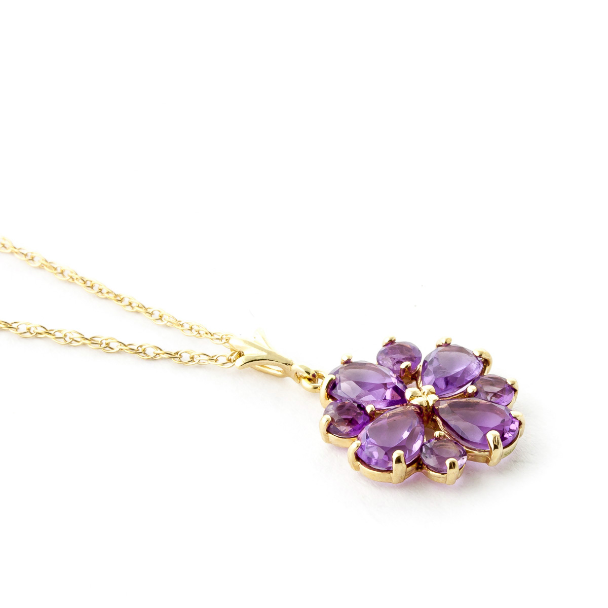 Amethyst Sunflower Pendant Necklace 2.43ctw in 9ct Gold