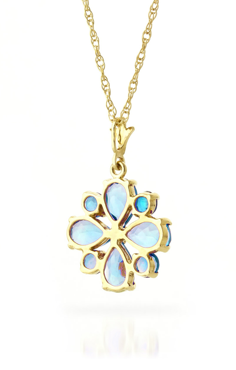 Blue Topaz Sunflower Pendant Necklace 2.43ctw in 9ct Gold