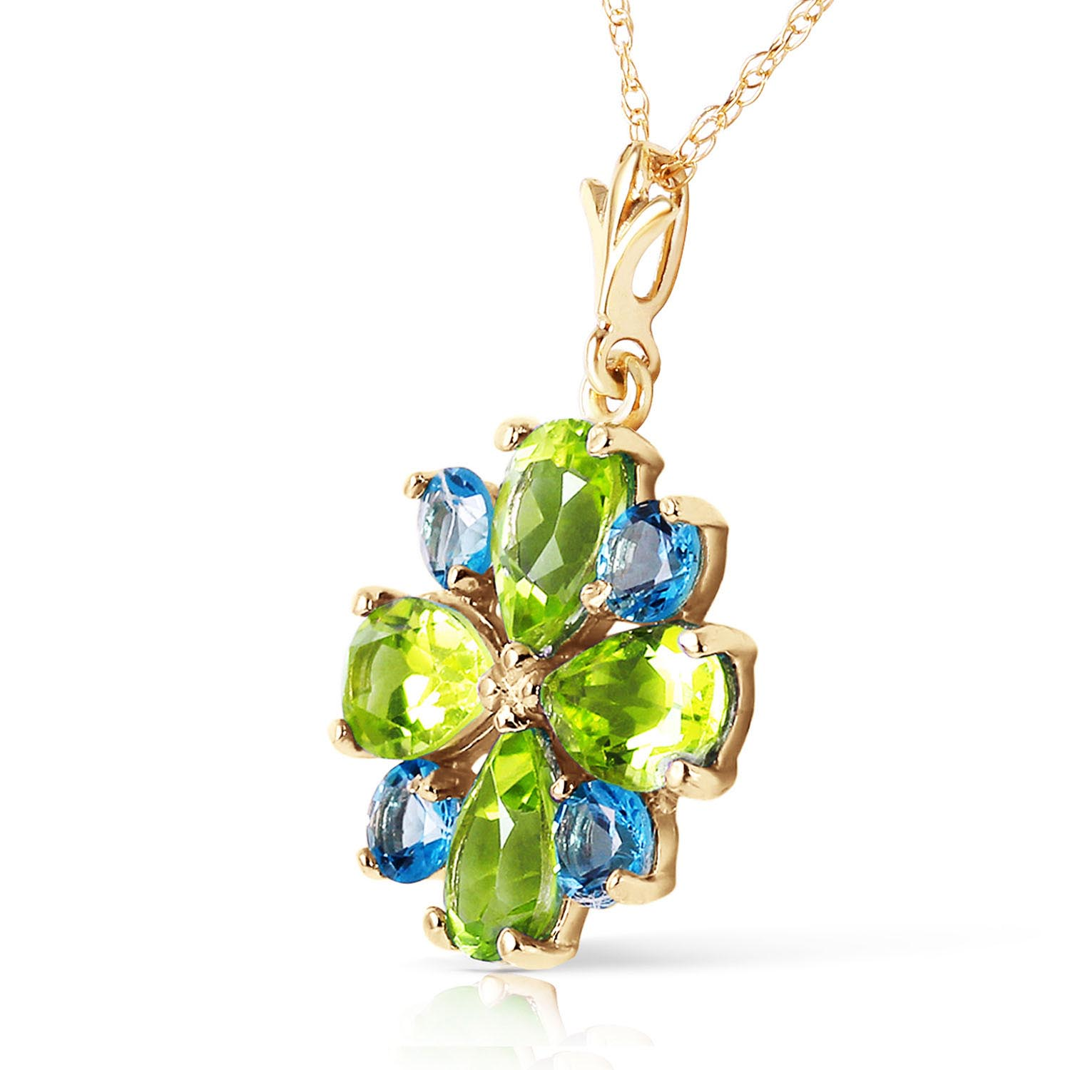 Peridot and Blue Topaz Sunflower Pendant Necklace 2.43ctw in 9ct Gold