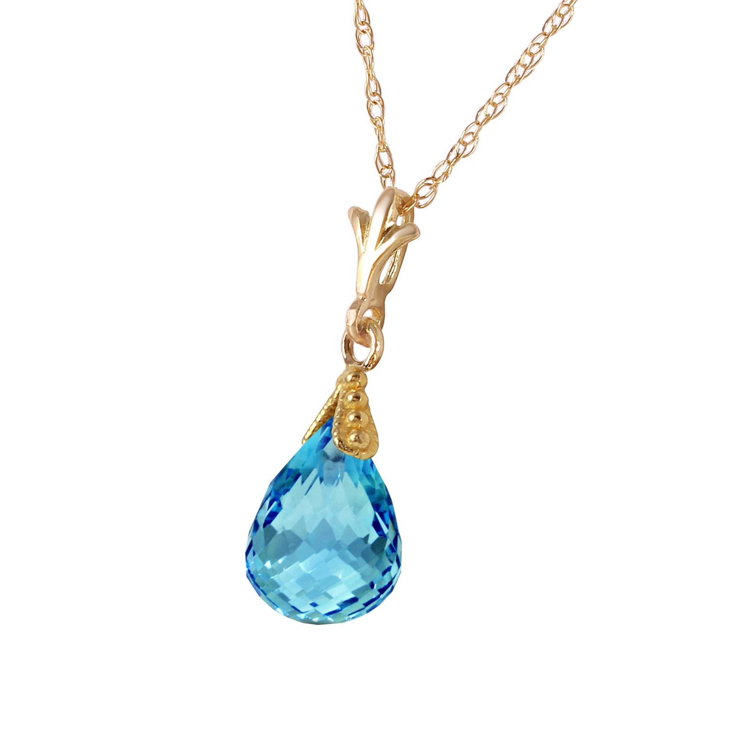 Blue Topaz Droplet Briolette Pendant Necklace 2.5ct in 9ct Gold