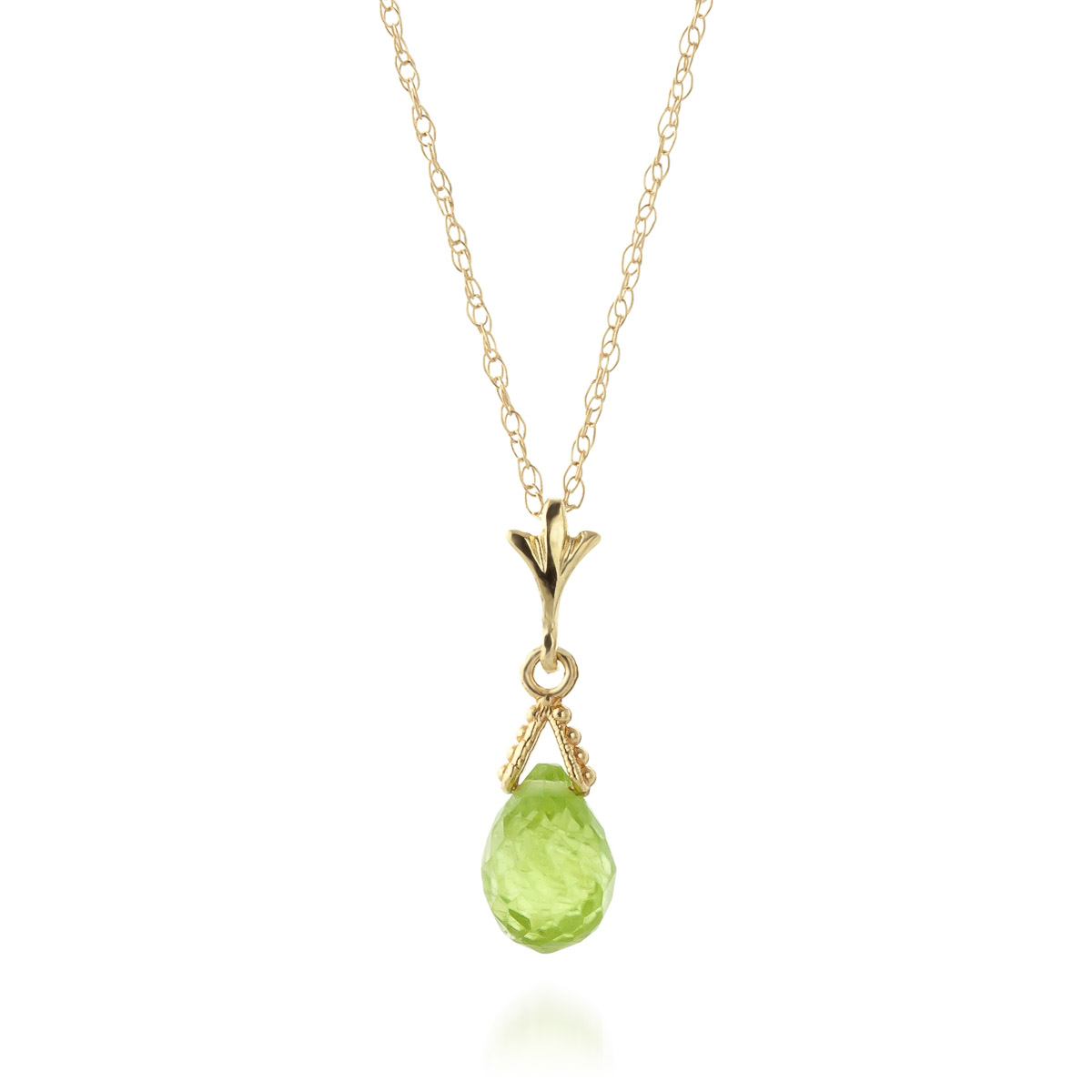 Peridot Droplet Briolette Pendant Necklace 2.5ct in 9ct Gold