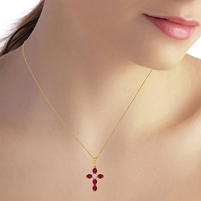 Ruby and Diamond Rio Cross Pendant Necklace 1.73ctw in 9ct Gold