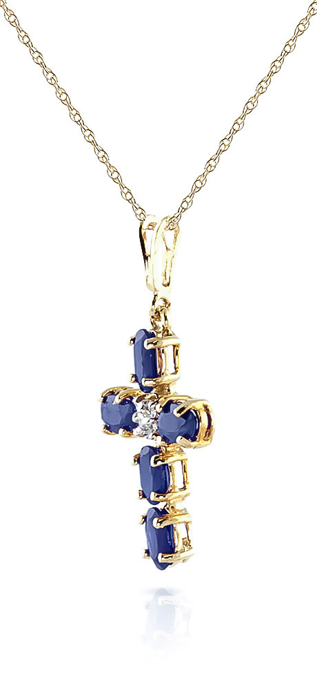 Sapphire and Diamond Rio Cross Pendant Necklace 1.73ctw in 9ct Gold