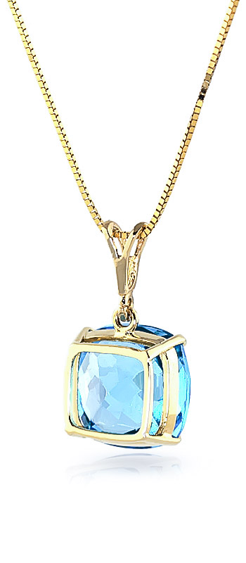 Blue Topaz Rococo Pendant Necklace 3.6ct in 9ct Gold