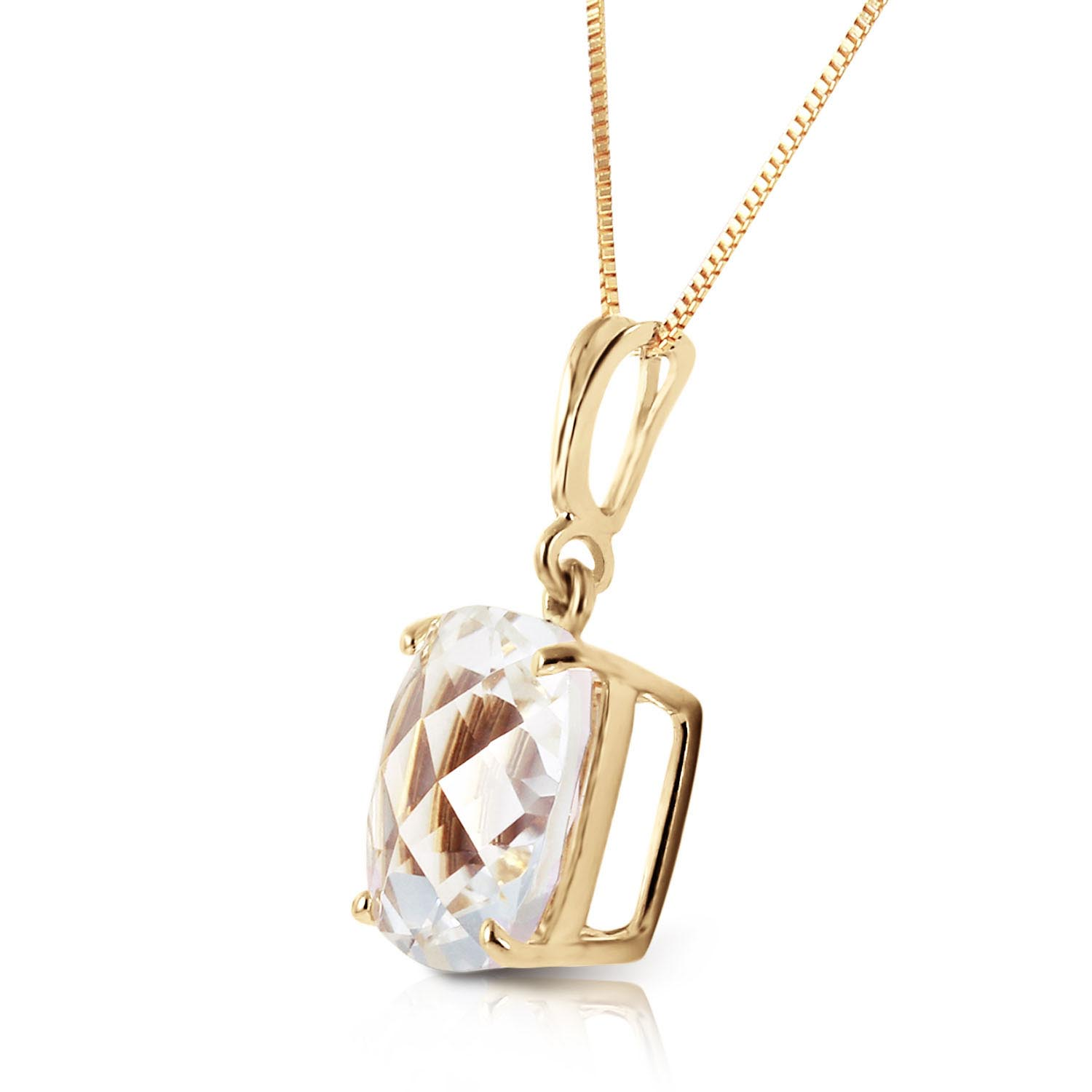 White Topaz Rococo Pendant Necklace 3.6ct in 14K Gold