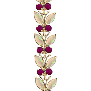 Opal and Ruby Butterfly Bracelet 12.0ctw in 9ct Gold