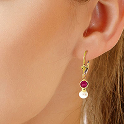 Pearl and Ruby Drop Earrings 2.7ctw in 14K Gold