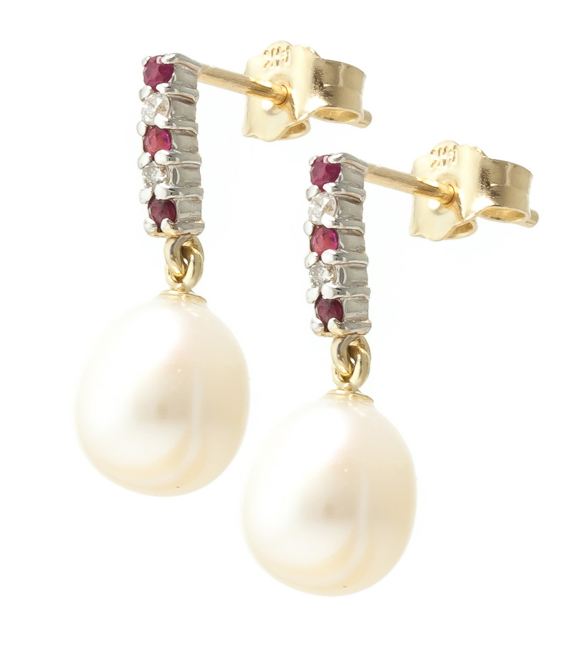 Pearl, Ruby and Diamond Stud Earrings 8.24ctw in 14K Gold