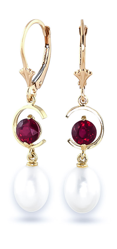 Pearl and Ruby Drop Earrings 9.0ctw in 14K Gold