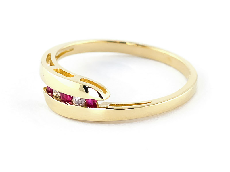 Diamond and Ruby Precision Set Channel Set Ring in 9ct Gold