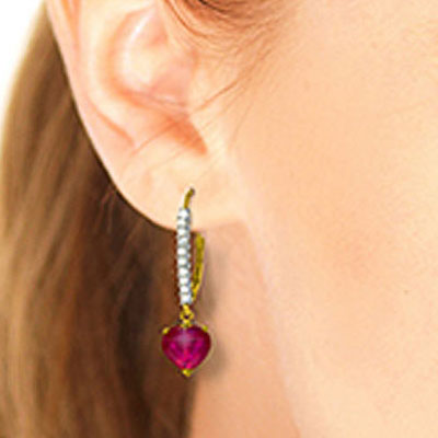 Diamond and Ruby Laced Drop Earrings in 14K Gold