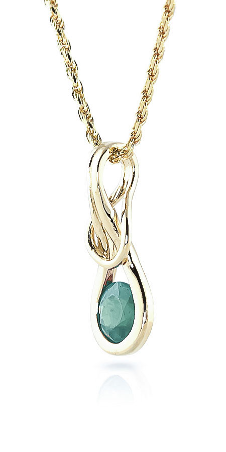 Emerald San Francisco Pendant Necklace 0.65ct in 9ct Gold