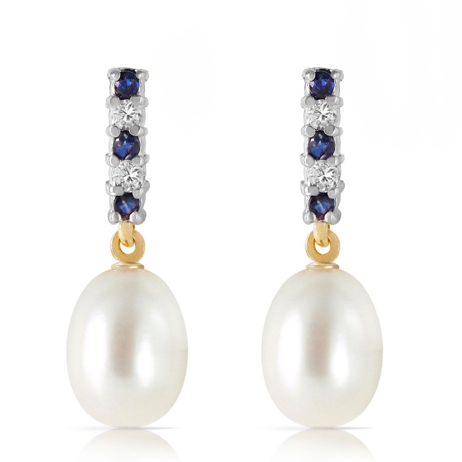 Pearl, Sapphire and Diamond Stud Earrings 8.24ctw in 14K Gold