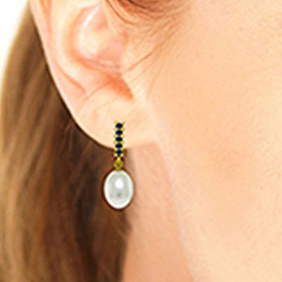 Pearl and Sapphire Stud Earrings 8.4ctw in 14K Gold