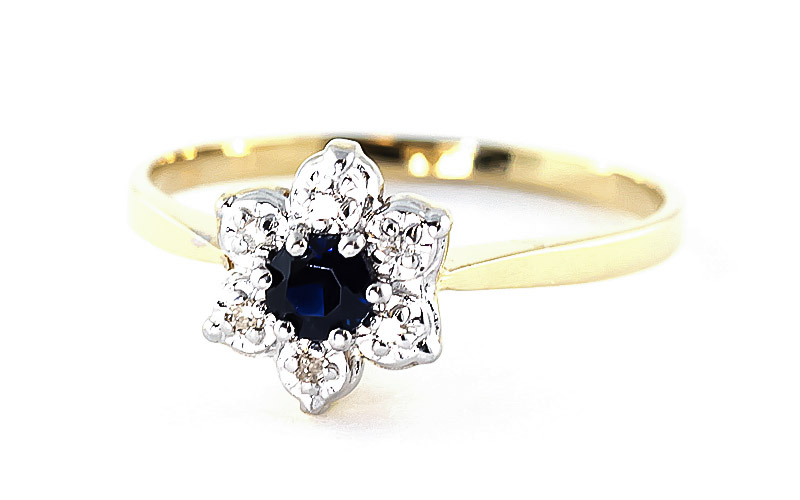 Diamond and Sapphire Wildflower Cluster Ring in 9ct Gold