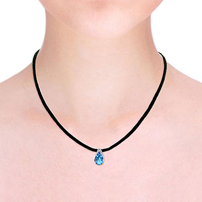 Blue Topaz Snowcap Leather Pendant Necklace 6.0ct in 9ct Gold