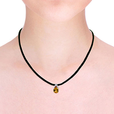 Citrine Snowcap Leather Pendant Necklace 6.0ct in 9ct Gold