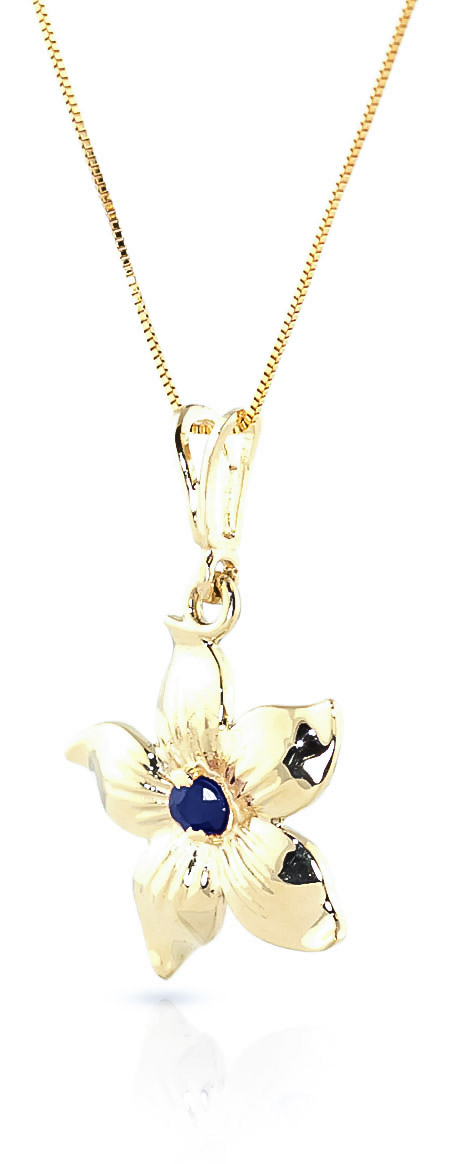 Sapphire Flower Star Pendant Necklace 0.1ct in 14K Gold