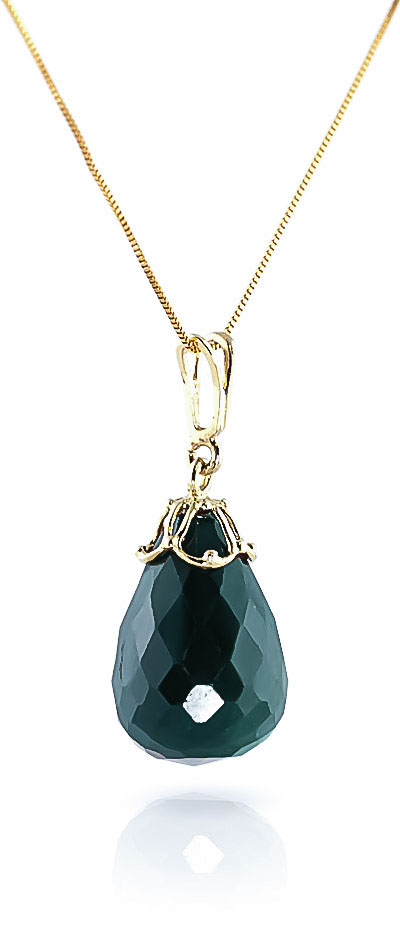 Emerald Tiara Briolette Pendant Necklace 14.8ct in 9ct Gold