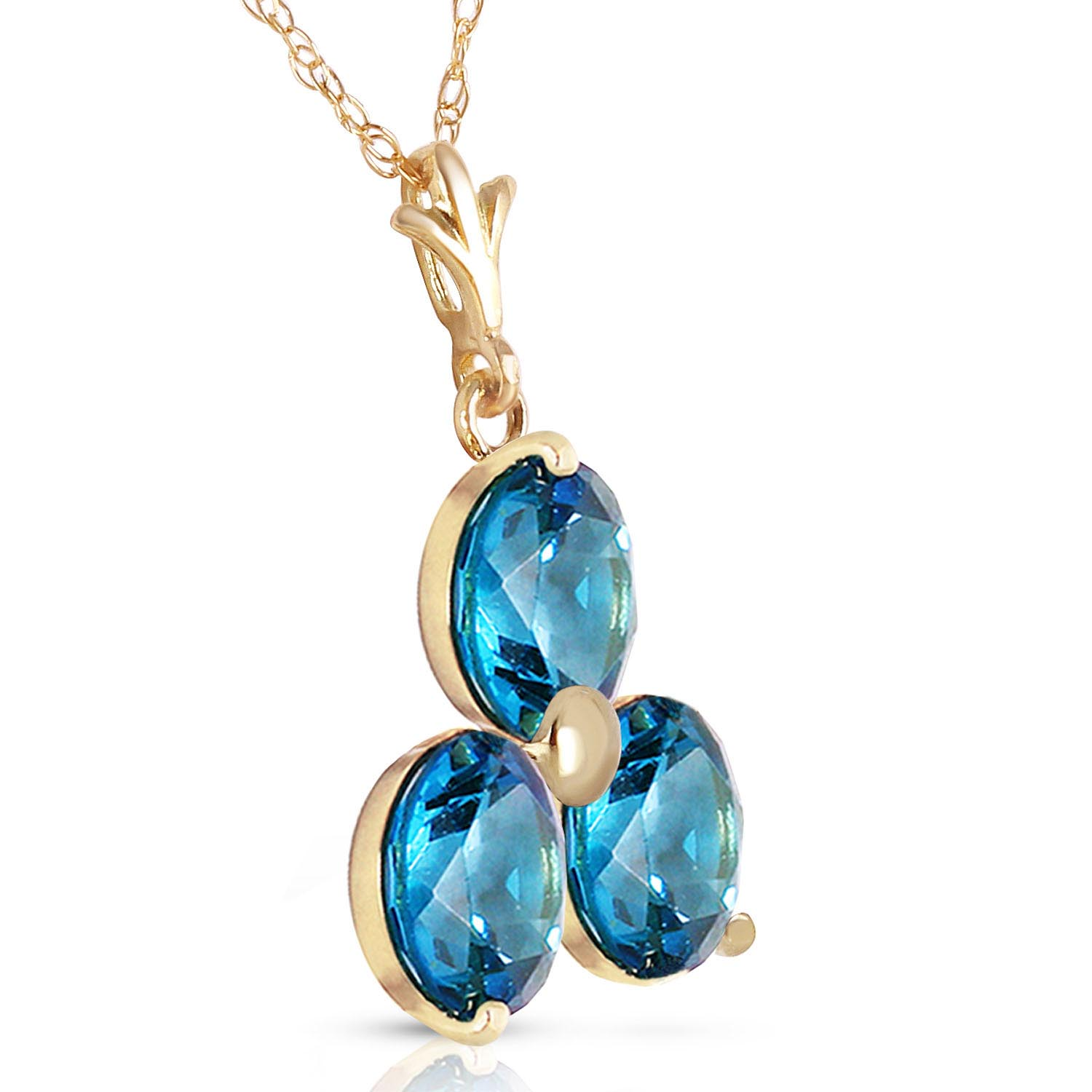 Blue Topaz Trinity Pendant Necklace 0.75ctw in 9ct Gold