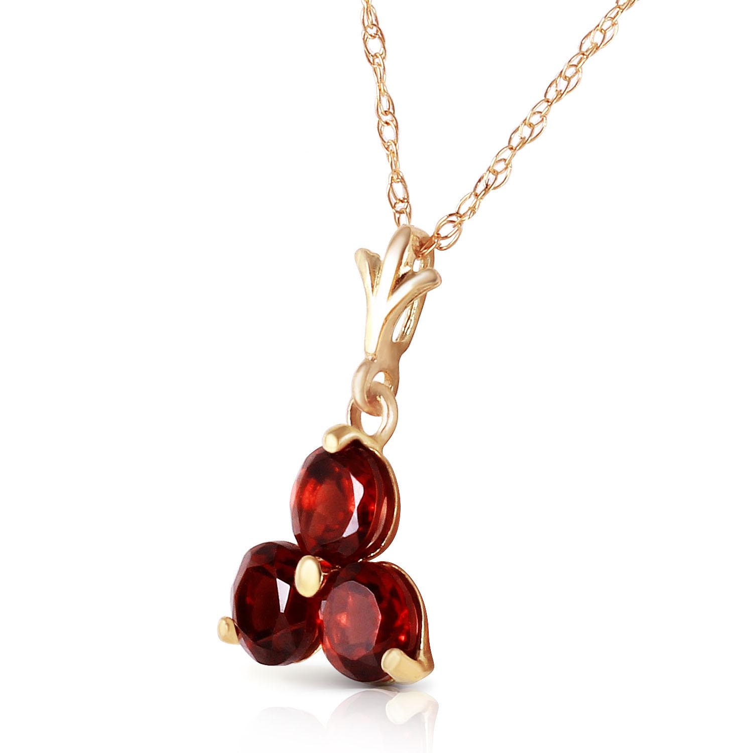 Garnet Trinity Pendant Necklace 0.75ctw in 9ct Gold