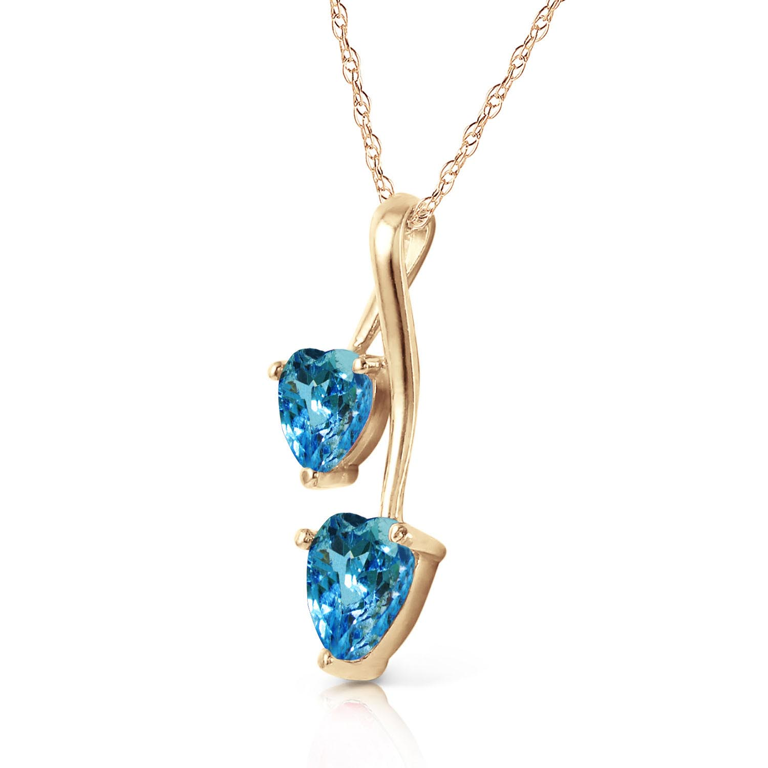 Blue Topaz Twin Heart Pendant Necklace 1.4ctw in 9ct Gold