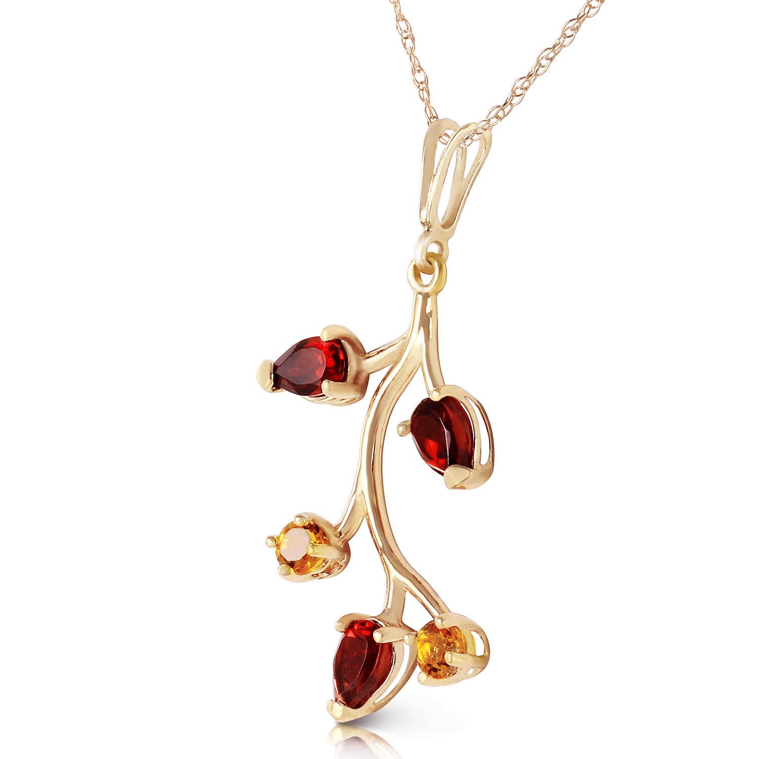 Garnet and Citrine Vine Pendant Necklace 0.95ctw in 9ct Gold