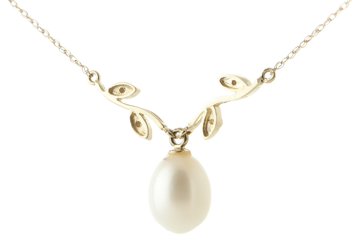 Pearl and Diamond Vine Branch Pendant Necklace 4.0ct in 14K Gold