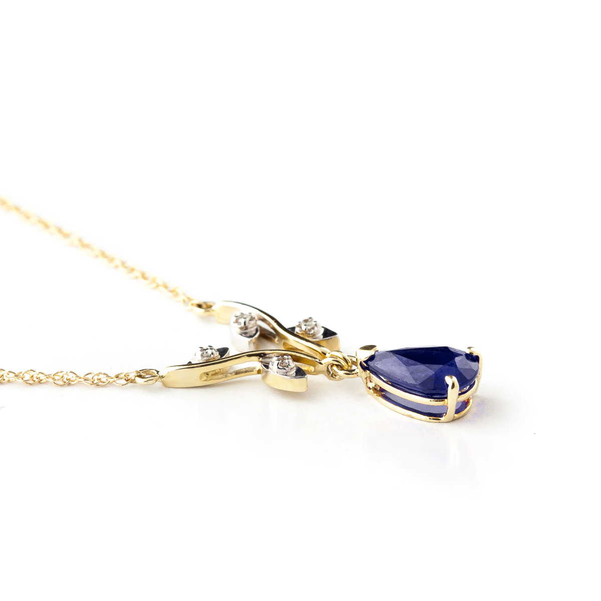 Sapphire and Diamond Vine Branch Pendant Necklace 1.5ct in 14K Gold
