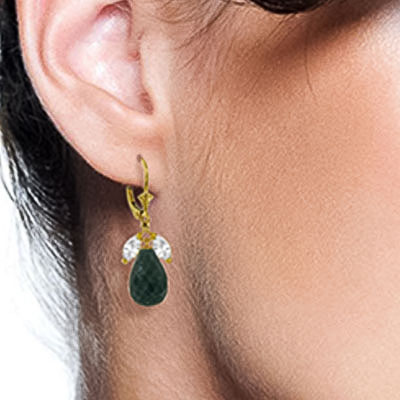 Emerald and White Topaz Snowdrop Earrings 18.6ctw in 14K Gold