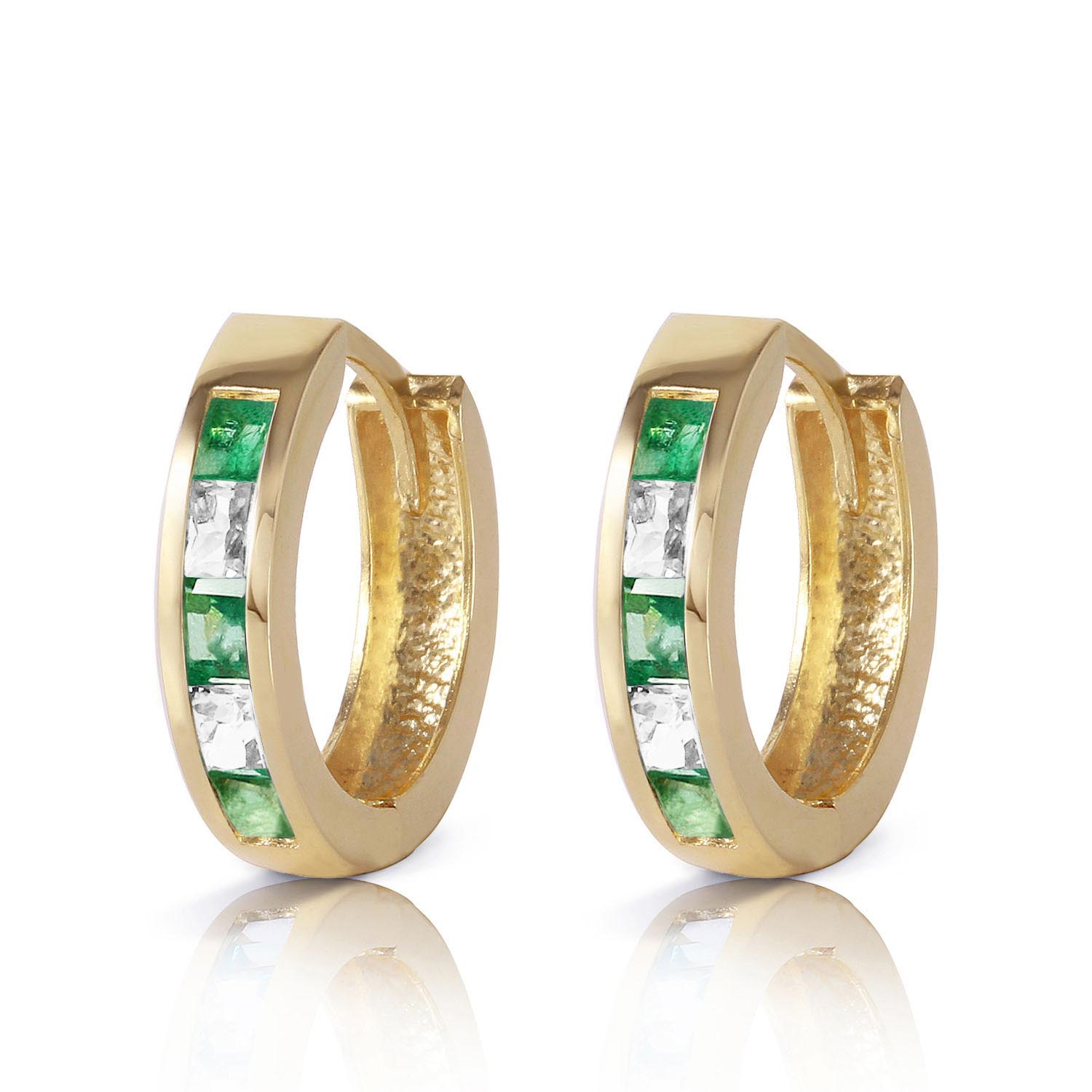 Emerald and White Topaz Huggie Earrings 1.26ctw in 9ct Gold