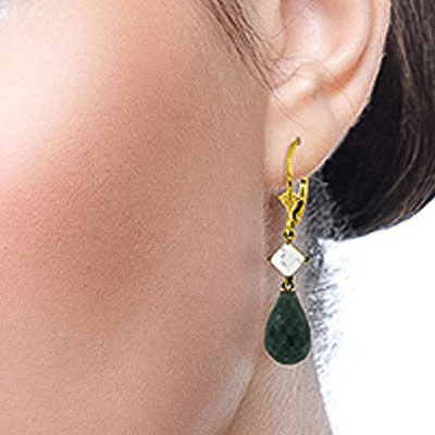 Emerald and White Topaz Drop Earrings 18.6ctw in 14K Gold
