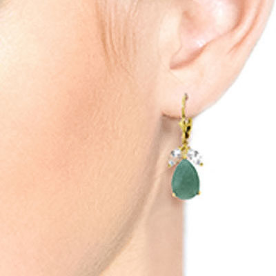 Emerald and White Topaz Drop Earrings 7.0ctw in 14K Gold