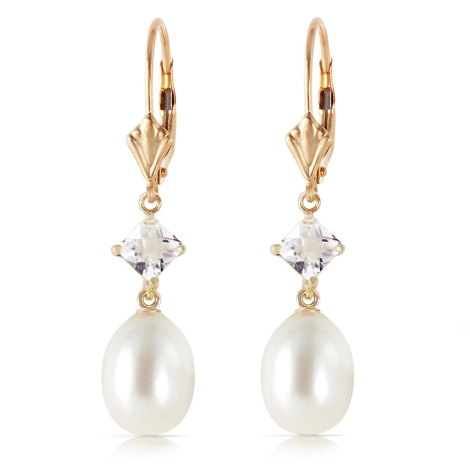 Pearl and White Topaz Drop Earrings 9.0ctw in 9ct Gold