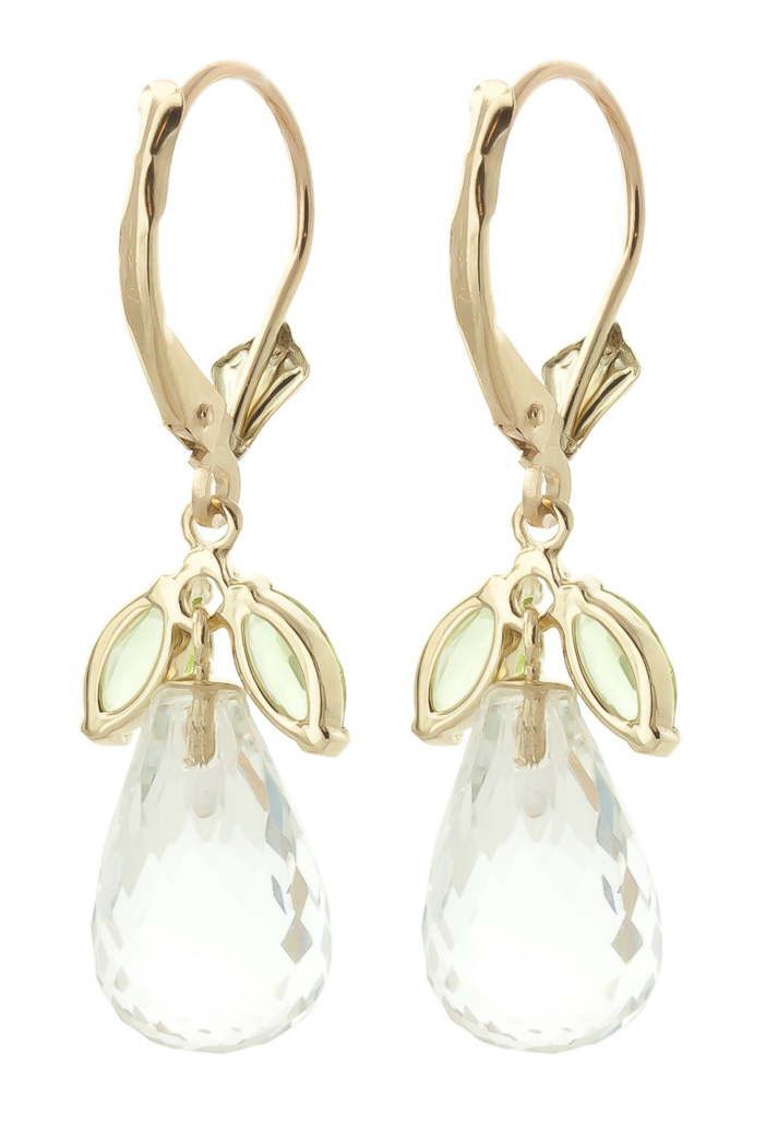 Peridot and White Topaz Drop Earrings 14.4ctw in 9ct Gold