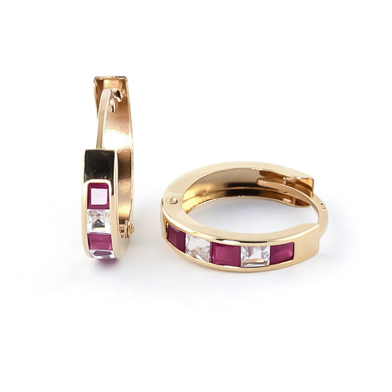 Ruby and White Topaz Huggie Earrings 1.26ctw in 14K Gold