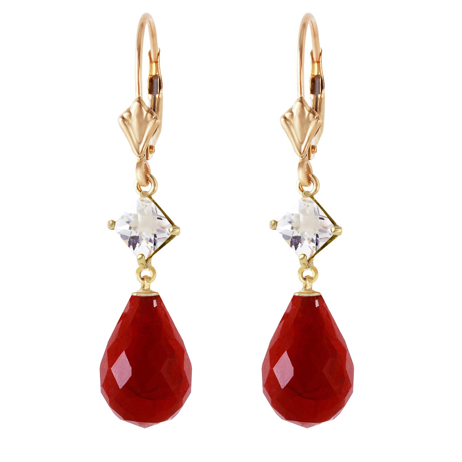 Ruby and White Topaz Drop Earrings 18.6ctw in 14K Gold