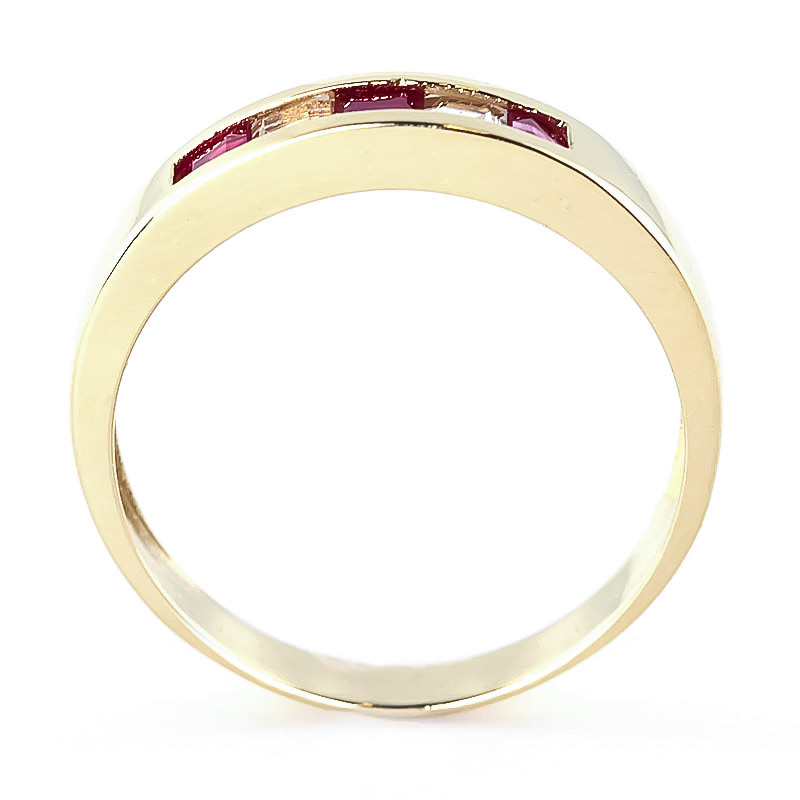 Ruby and White Topaz Ring 0.78ctw in 9ct Gold