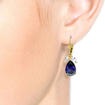 Sapphire and White Topaz Drop Earrings 9.3ctw in 14K Gold