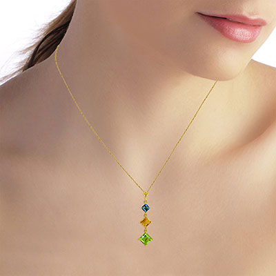 Peridot, Blue Topaz and Citrine Three Stone Pendant Necklace 2.4ctw in 14K Gold