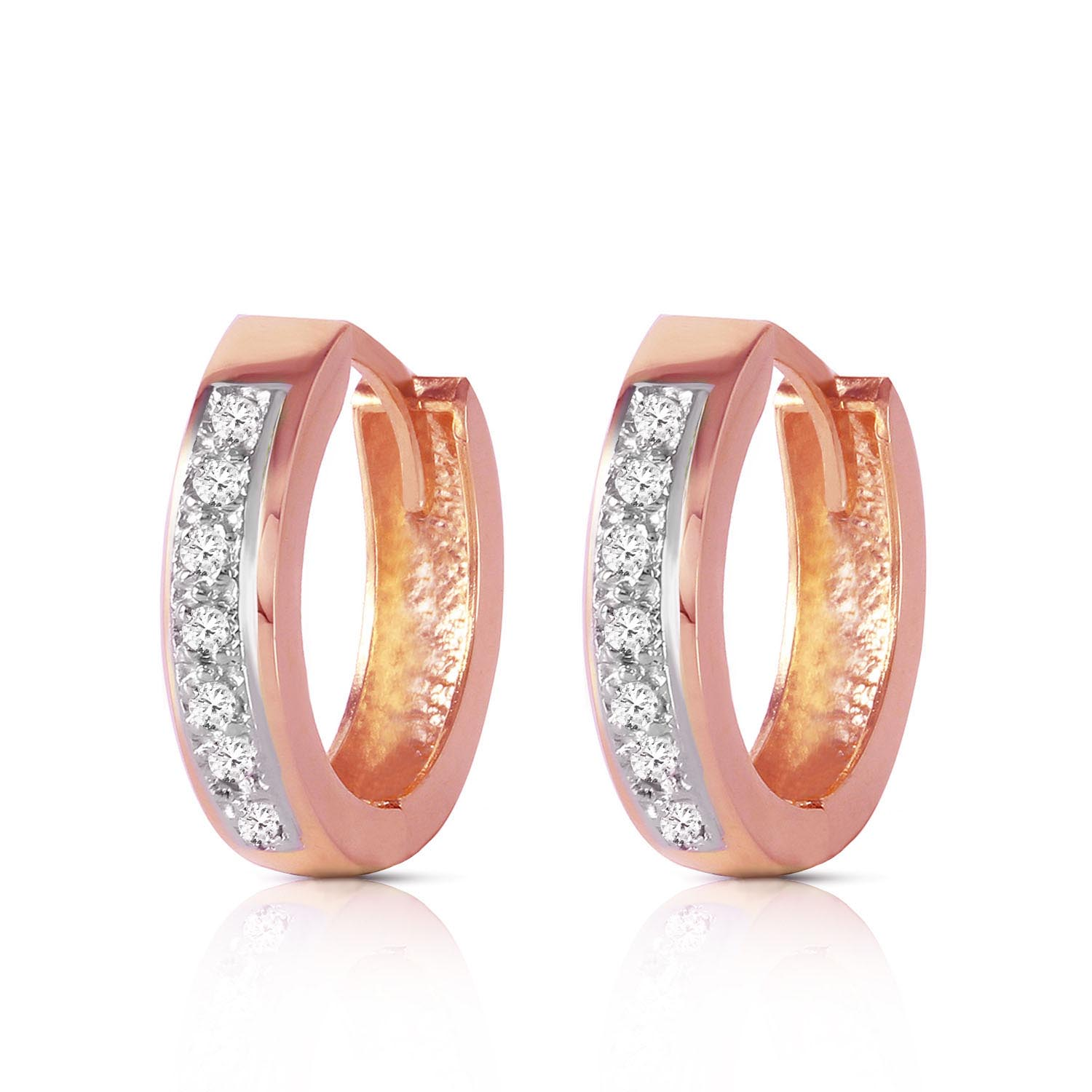 Diamond Huggie Earrings in 14K Rose Gold