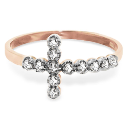 Diamond Cross Ring in 9ct Rose Gold