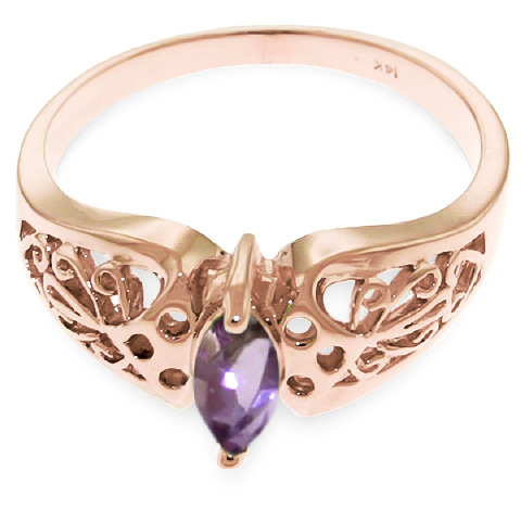 Marquise Cut Amethyst Filigree Ring 0.2ct in 9ct Rose Gold