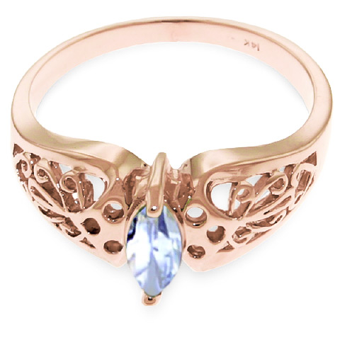Marquise Cut Aquamarine Filigree Ring 0.2ct in 9ct Rose Gold