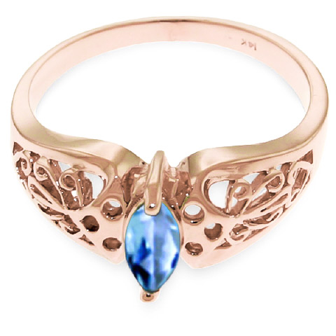 Marquise Cut Blue Topaz Filigree Ring 0.2ct in 14K Rose Gold