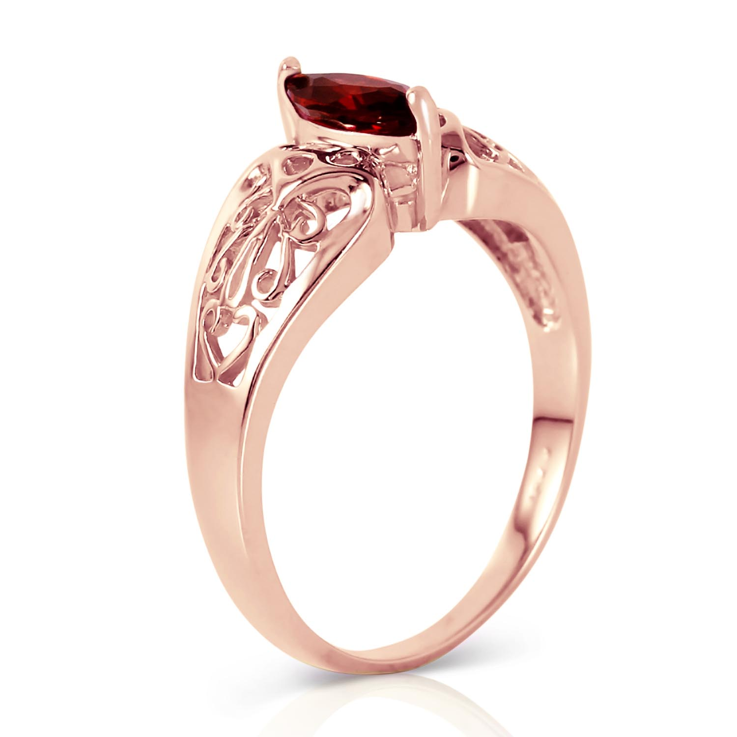 Marquise Cut Garnet Filigree Ring 0.2ct in 14K Rose Gold