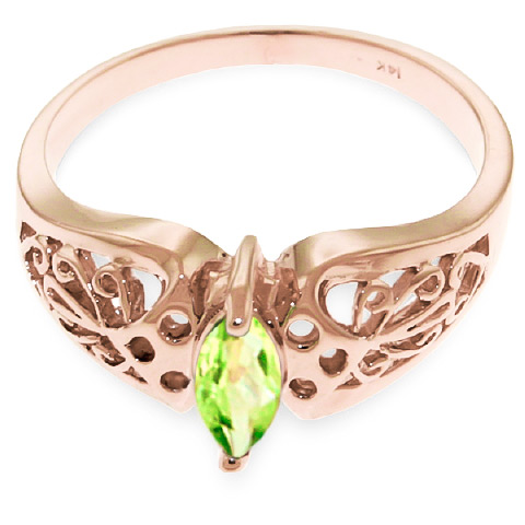 Marquise Cut Peridot Filigree Ring 0.2ct in 9ct Rose Gold