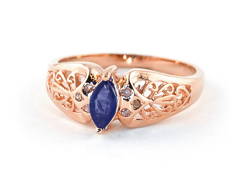 Marquise Cut Sapphire Filigree Ring 0.2ct in 14K Rose Gold